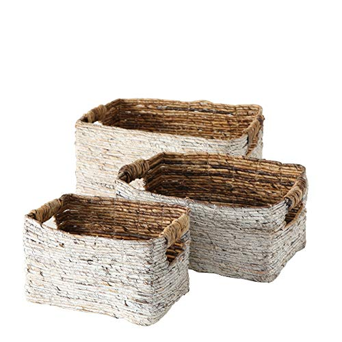 Baskets Cod Cape - WHW Whole House Worlds Beach Chic White Washed Banana Leaf Nesting Baskets, Chunky Weave, Rustic Natural Accents, Cut Out Handles, Set of 3, Various Sizes 10 1/2 Inches - Over 1 Ft. Long
