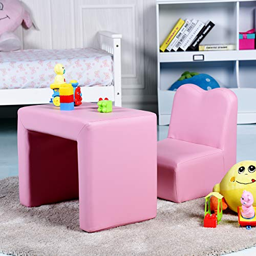 - Costzon Kids Sofa, 2-in-1 Multi-Functional Kids Table & Chair Set, Sturdy Wood Construction, Armrest Chair for Boys & Girls (Pink)