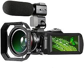 Videocámara 4K, cámara de video digital con micrófono externo, lente gran angular 4K Ultra-HD y parasol/videocámara con visión nocturna por infrarrojos 24MP Wifi 60 fps
