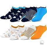 TeeHee Men's Golf Socks No Show Socks 6-Pairs Assorted (Golf Ball w/Tee)