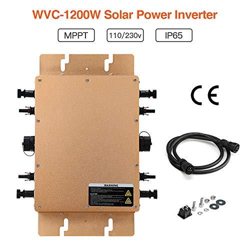 Elikliv WVC-1200W 230V Spannungswandler Waterproof Wechselrichter Grid Tie Power Solar Inverter Für Sonnenkollektor mit MPPT Funktion(Gold)