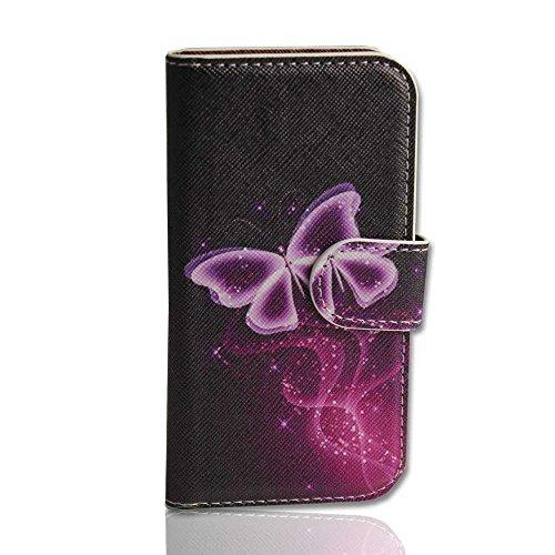 Handy Tasche Case book für Apple iPhone 5 / Hülle Etui Handytasche Schutzhülle butterfly lila