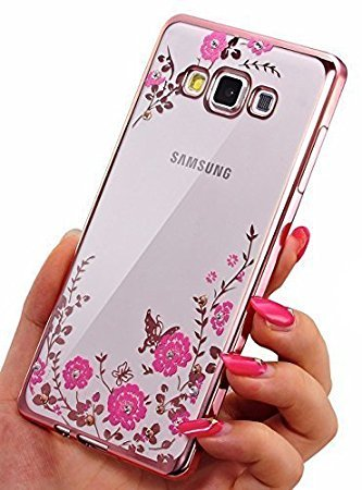 sports shoes 9c809 1094d Loxxo® Secret Garden Flower Diamond Soft TPU Electroplated Slim Fit Ultra  Thin Back Cover for Samsung Galaxy J710/J7 Nxt(Rose Gold)