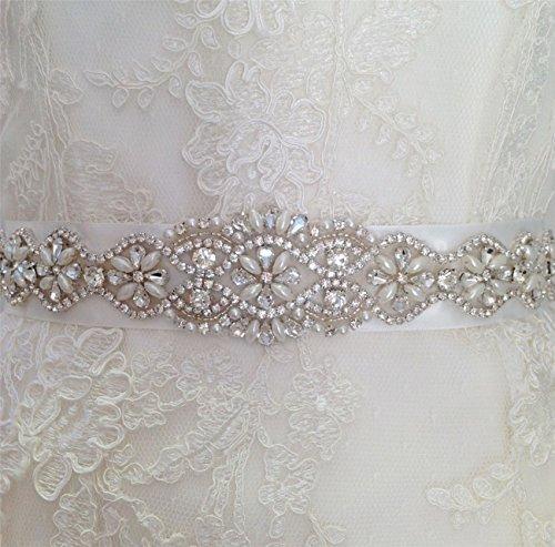 QueenDream Iridescent Rhinestone Belt Pearl Bridal Belt Light Ivory Wedding sash Wedding Bride sash by QueenDream (Image #3)