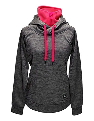 John Deere Womens Charcoal Pink Performance Fleece Pullover Hoodie-Large, Gray, Pink