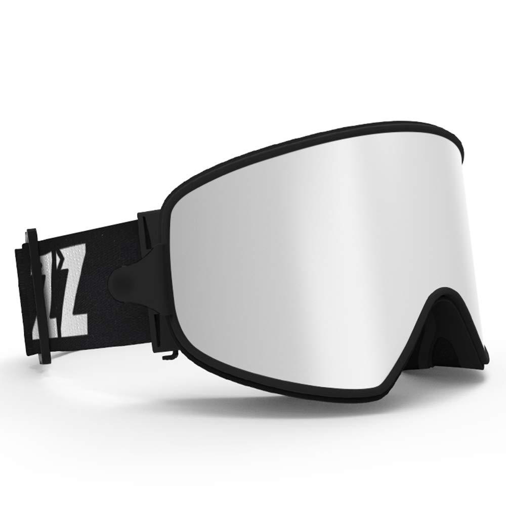 YangXu スキーゴーグル - TPU/PC ダブル曇り止め コーティングされた調光機能 シリコンノンスリップヘッドバンド 近視対応 大人用 ユニセックス アウトドア スキー 登山器具 大型 球面 HD ゴーグル - A XY-689 黒 Frame 銀 Lens
