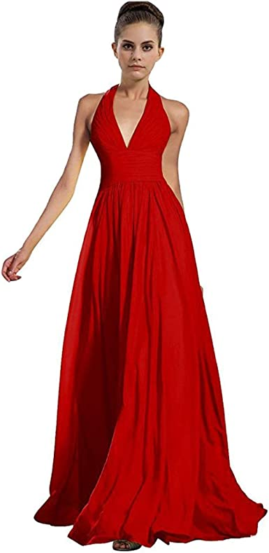 Red Chiffon Bridesmaid Wedding Evening Formal Ballgown Long Maxi A-Line Uk