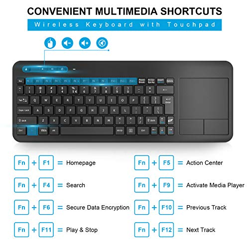Wireless Keyboard with Touchpad, WisFox 2.4G Slim Ergonomic Wireless Keyboard with Easy Media Control and Built-in Touch Pad for PC Laptop Windows Google Smart TV HTPC Android