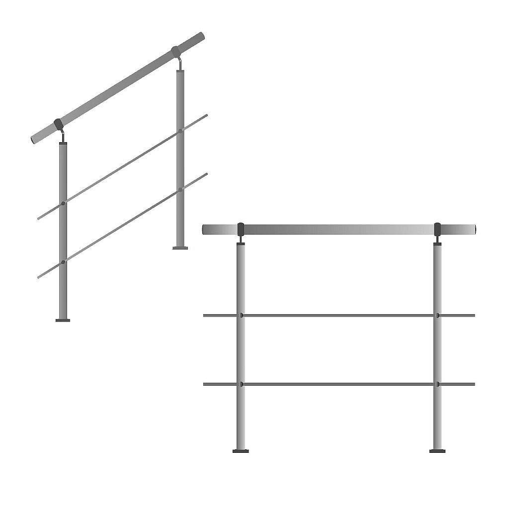 bis 3.5m inkl. 4 Pfosten 5 Querstangen Edelstahl-Handlauf Gel/änder f/ür Treppen Br/üstung Balkon mit//ohne Querstreben