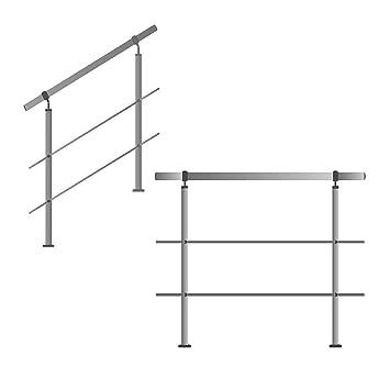 Barandilla de acero inoxidable, para escaleras, balcones, con/sin travesaños