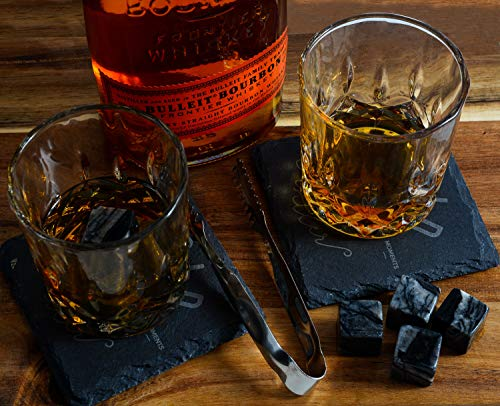 Bold Antler Whiskey Stones Set | Bar Accessories with Shot Glasses, Coasters and Granite Cubes in Wooden Box | No Ice Melt Bourbon, Scotch, Brandy Glass | Best Birthday or Anniversary Gift for Men by Bold Antler (Image #5)