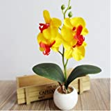 Artificial flowers,GOODCULLER Four Butterfly Orchid Meaty Plant Bonsai Creative Flower Arranging Accessories (yellow)