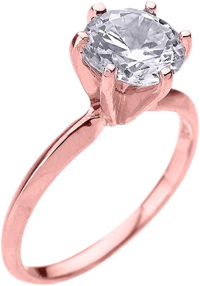 10k Rose Gold 3.0 ct Engagement Ring Cubic Max 45% OFF Zirconia New products world's highest quality popular Solitaire