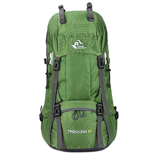 Hiking Backpack 60L for Climbing Lightweight Rainproof Outdoor Sport Bag Trekking Daypack for Skiing Skating pack (GREEN)