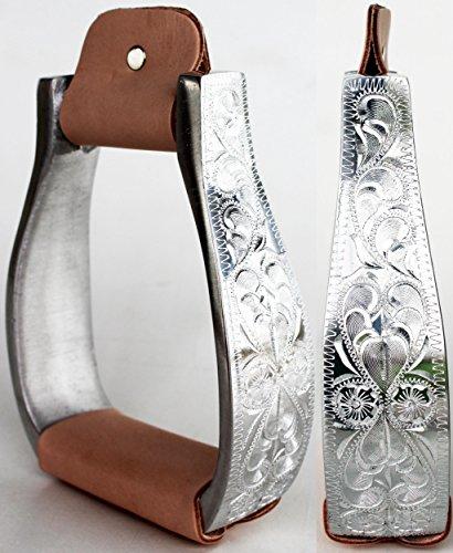 ProRider Horse Western Saddle Barrel Pleasure Stirrups Engraved Aluminum leather (Leather Western Stirrups)