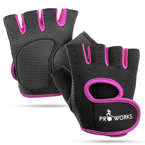 Weighted Gloves Set (Proworks Women's Padded Grip Fingerless Gym Gloves for Weight Lifting, Cross Training, Exercise Bikes & More – Black with Pink Trim (Medium))
