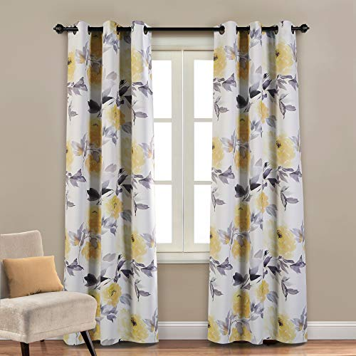 MYSKY HOME Printed Floral Curtains for Living Room, Room Darkening Grommet Curtain Panels 42 inch Wide by 84 inch Length (Yellow, 1 Pair) (Printed Curtains Yellow)