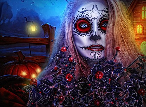 Quality Prints - Laminated 32x24 Vibrant Durable Photo Poster - Halloween Girl All Saints ' Day Gothic Model Portrait Mejk Person Eyes Fantasy Witch Mystic Horror Scary Night Twilight Spooky -
