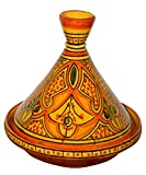 Moroccan Handmade Serving Tagine Exquisite Ceramic With Vivid colors Original 8 inches Across