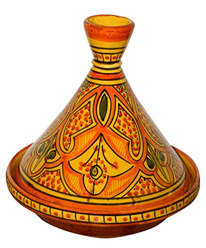 Moroccan Handmade Serving Tagine Exquisite Ceramic With Vivid colors Original 8 inches Across by Serving Tagines