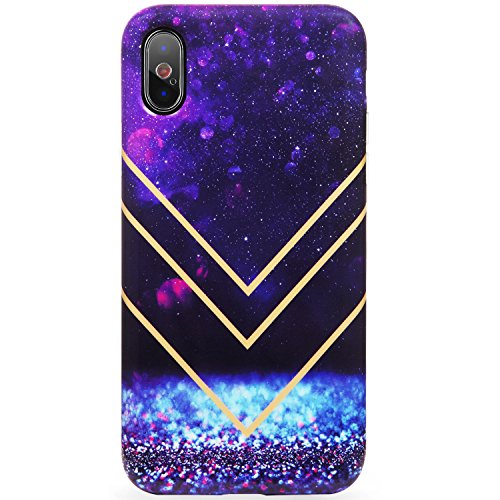 DICHEER iPhone X Case,iPhone Xs Case,Cute Blue Purple Crystals for Women Girls Slim Fit Thin Clear Bumper Glossy TPU Soft Rubber Silicon Cover Best Protective Phone Case for iPhone X/iPhone Xs