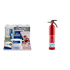 First Aid Only 178 Piece Contractor's First Aid Kit (9302-25M) & First Alert HOME1 Rechargeable Standard Home Fire Extinguisher UL Rated 1-A:10-B:C, Red
