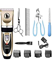 Ceenwes Cat Clipper Low Noise Pet Clippers Rechargeable Trimmer Cordless Pet Grooming Tool Professional Horses Hair Trimmer with Comb Guides Scissors Nail Kits for Cats Dogs Horses & Other Hairy Animals