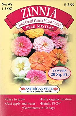American Seed AS20ZIN Zinnia Seed Mixture, Semi-Dwarf Pumila Mixed Color, 20 Square Foot Shaker Box (1.5 Ounce)
