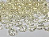 CraftbuddyUS 100 Cream Acrylic Heart Ribbon Slider Buckles for Wedding Invitations, Card Craft