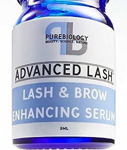 Pure Biology Eyelash Growth Serum & Eyebrow Enhancer - with Biotin Peptides, & Breakthrough Growth Stimulating Complex (5 ML)
