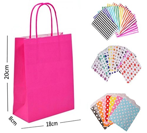 1 x HOT PINK PARTY PAPER GIFT BAGS – WITH MATCHING CANDY STRIPE SWEET BAG