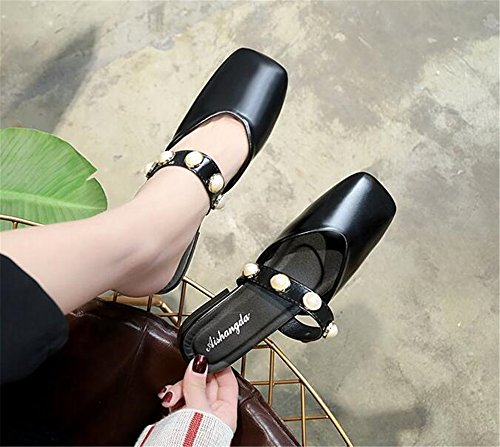 Toe Shoes FORTUN Shoes Fashion Comfortable Flat Outdoor Head Slippers Black Closed Square 4AIqvwA