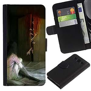 A-type (Monster Zombie Scary Painting) Colorida Impresión Funda Cuero Monedero Caja Bolsa Cubierta Caja Piel Card Slots Para Samsung Galaxy S3 III i9300 i747