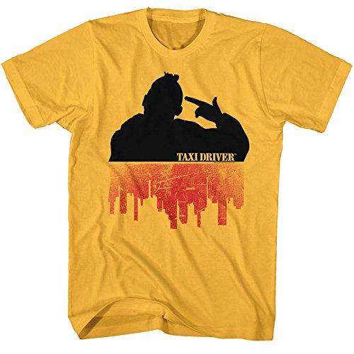 American Classics Taxi Driver 1976 Crime Drama Movie Silhouette Over City Ginger Adult T-Shirt ()