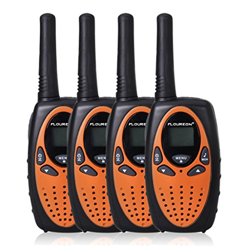 FLOUREON 4 Packs 22 Channel Walkie Talkies Two Way Radios 3000M (MAX 5000M open field) UHF lLong Range Handheld (Orange/Black)