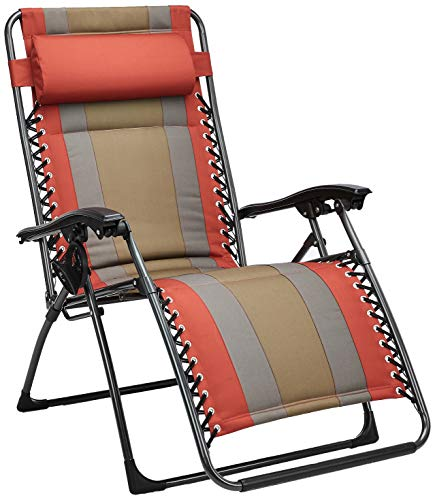 AmazonBasics Outdoor Padded Zero Gravity Lounge Beach Chair – 65 x 29.5 x 44.1 Inches, Red