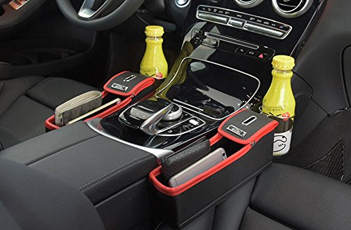 niceEshop(TM) Console Side Pocket, Leather Car Seat Gap Catcher with Coin Organizer and Cup Holder, Black and Red, 1Pcs, Right