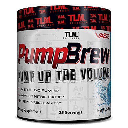 (TLM Research | Pump Brew | Vaso 6 Nitric Oxide Booster | Extreme Vascularity & Skin Splitting Pumps | (Blue Razz Candy))