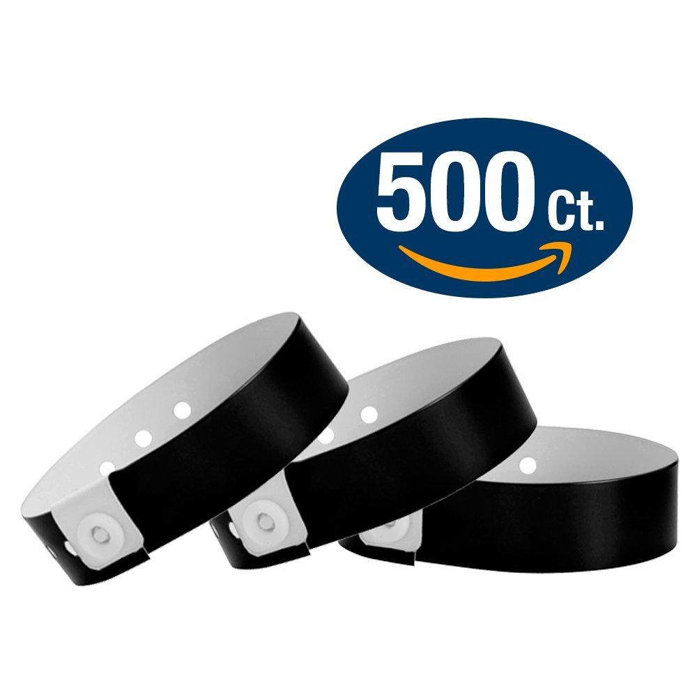 WristCo Black Vinyl Wristbands - 500 Pack Wristbands For Events
