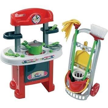 Partner Jouet A1202461 - Cocina y carrito de la limpieza de juguete: Amazon.es: Juguetes y juegos