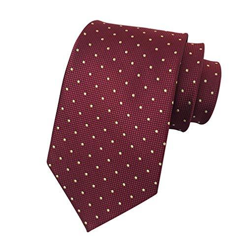 (MENDENG Men's Burgundy Gold Polka Dot Silk Tie Wedding Necktie Elegant Suit Ties )