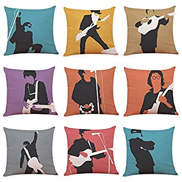 OPUSS 【45*45cm Pillow cases】Music Character Cotton Linen Pillow Modern Cushion Cover by (9 STYLES)