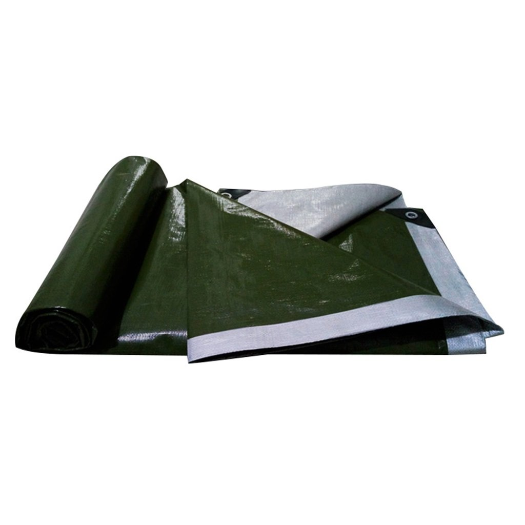 YUJIE Telone Impermeabile in Plastica Telone Impermeabile Teli Solari, Spessore 0,35 Mm, 180 G   M2, 16 Misure, verde Militare + argentoo (Dimensioni   3  5)