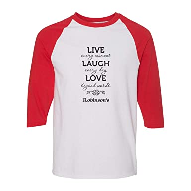 d223c7d24 Personalized Custom Live Every Moment Laugh Everyday Love Cotton/Polyester  3/4 Sleeve Crewneck