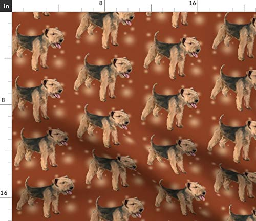 Spoonflower Dogs Fabric - Lakeland Terrier Pets Animals Tan by Dogdaze Printed on Satin Fabric by The - Satin Lakeland