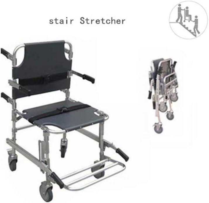 DDZXL Sillas de escaleras médicas Aluminio Peso Ligero Ambulancia Bombero Evacuación Silla de Escalera elevadora médica con Hebillas de liberación rápida-Negro