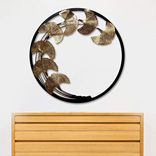 Decorlives Copper Leaves in Black Ring Decorative Metal Wall Sculpture Art Handging Décor