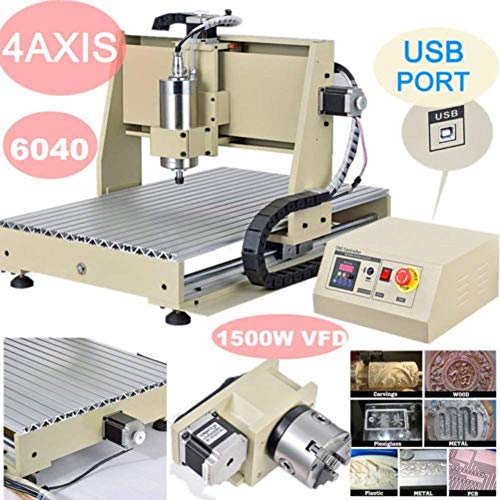 Milling Machines, 4 Axis 6040 USB Port 1500W CNC Router Engraver MACH3 VFD Print Machine Engraving Cutting Machine Power Milling Drilling Milling Machine, USA STOCK