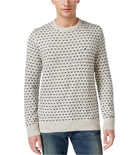 (Tommy Hilfiger Geo-Print Oatmeal Multi Crewneck Pullover Fashion Sweater-Size XXXL)