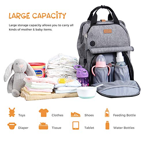 Diaper Bag Backpack, Lifewit Unisex Nappy Bag Hospital Bag with Changing Pad Multifunctional One-hand Opening and Closing Maternity Bag Travel Backpack for Mom Dad